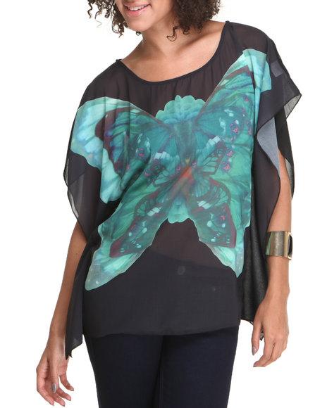 Fashion Lab Women Kimono Butterfly Print Blouse Black Medium