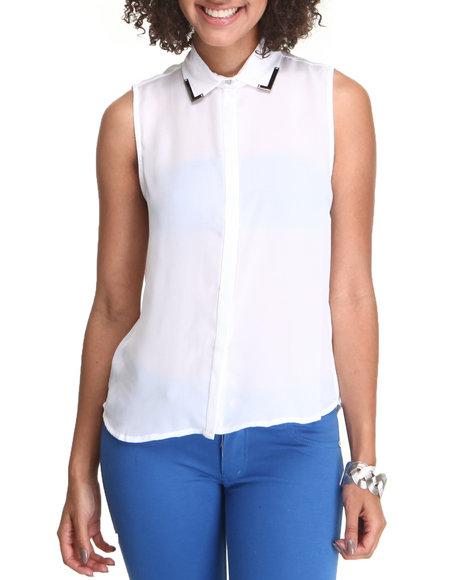 Fashion Lab White Sleeveless Button-Down Blouse