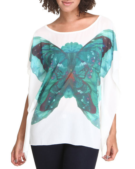 Fashion Lab Women Kimono Butterfly Print Blouse Cream Medium