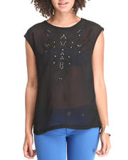 Fashion Lab - Sleeveless Embroidery Blouse w/jewels