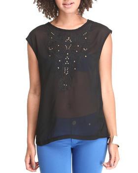Fashion Lab - Sleeveless Embroidery Blouse w/jewels