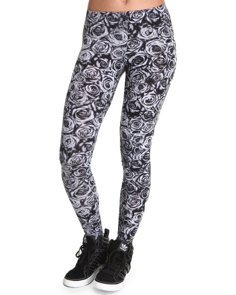 Fashion Lab - Women Black,Grey Rose Printed Leggings