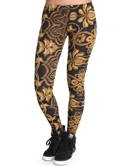 Fashion Lab - Women Black,Gold Royal Life Print Leggings