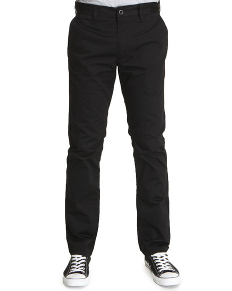 Rvca - Men Black Every-Day Slim Straight Fit Pants