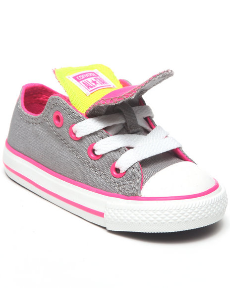 Converse Girls Light Grey Chuck Taylor All Star Double Tongue (5-10)