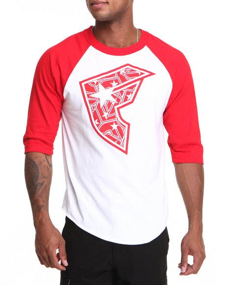 Famous Stars & Straps - Men Red,White Bombard Boh Baseball Raglan Tee