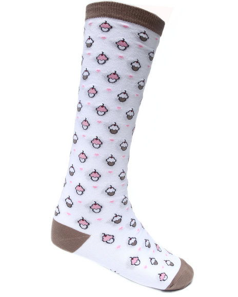 Sock It To Me Cupcakes Socks White