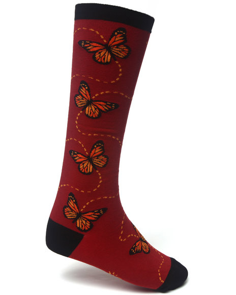 Sock It To Me Women Butterflies Socks Red