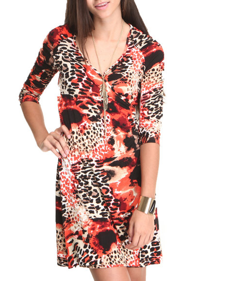 Fashion Lab - Women Animal Print,Orange Printed Wrap Dress - $14.99