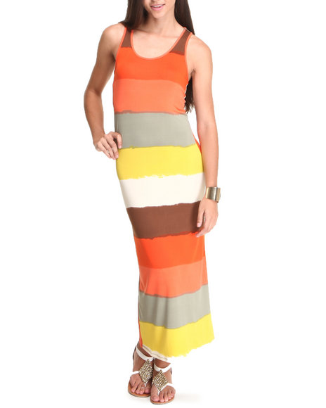 Basic Essentials Women Stripe Maxi Dress Multi Small