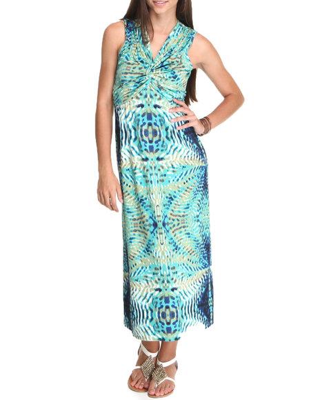 Basic Essentials Blue Printed Wrap Dress