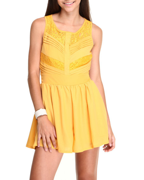 Chord - Women Yellow Lace Chevron Romper