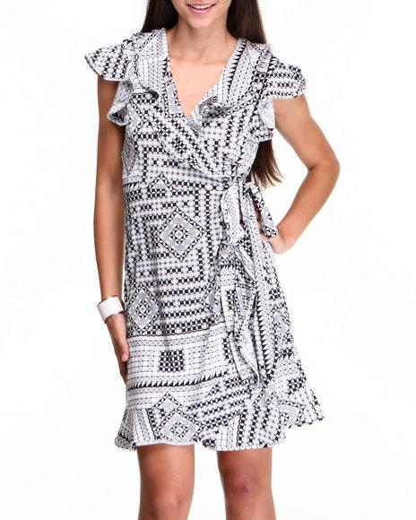 Fashion Lab Black,White Wrap Printed Dress