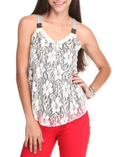 Prints & Patterns - Lace Overlay Cami