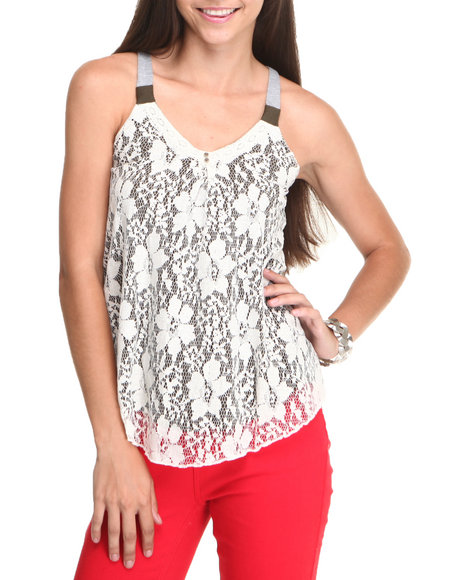 JOLT Olive Lace Overlay Cami