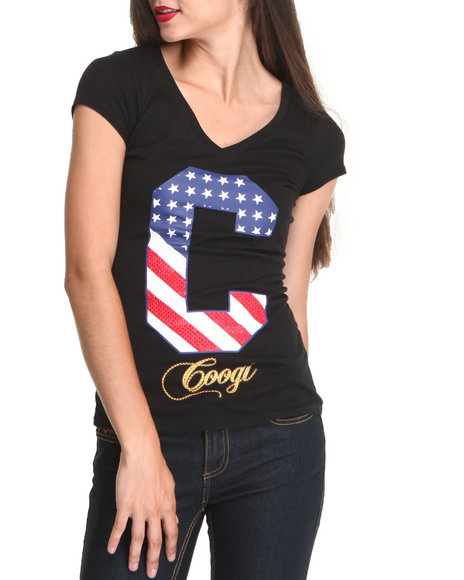 COOGI Women Black Coogi Free To Be Sexy Tee W/Studs - COOGI Clothing For Women