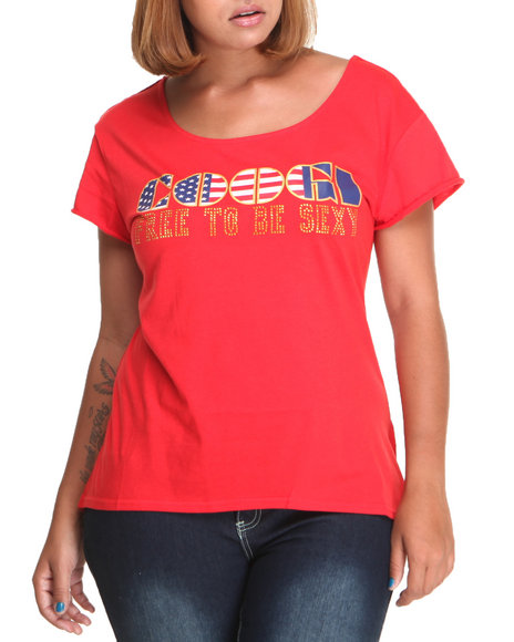 COOGI Red Coogi Free To Be Sexy Tee W/Studs (Plus Size)
