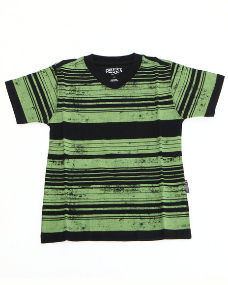 Arcade Styles - Boys Green Printed Stripe Tee (8-20) - $6.99