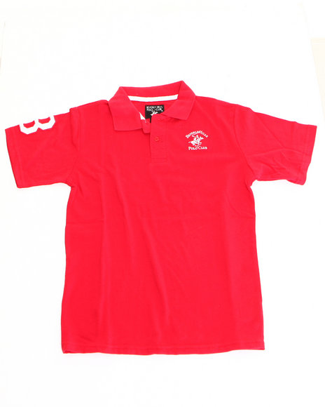 Arcade Styles Boys Solid Polo 820 Red 1618 L