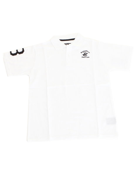 Arcade Styles Boys Solid Polo 820 White 1618 L