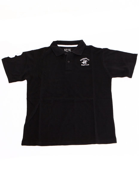 Arcade Styles Boys Solid Polo 820 Black 1618 L