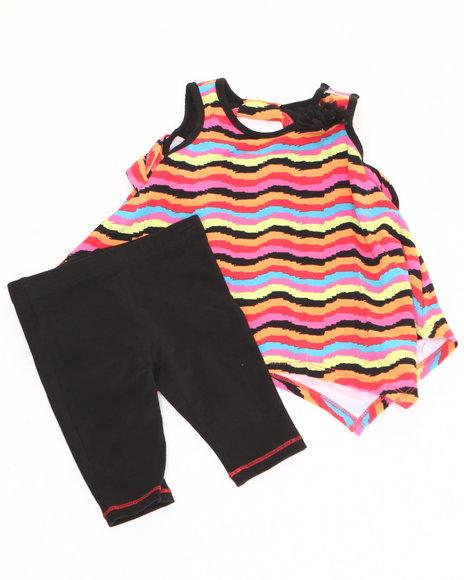 Nicole Miller Girls Black 2 Pc Set Striped Tunic & Leggings (Infant)