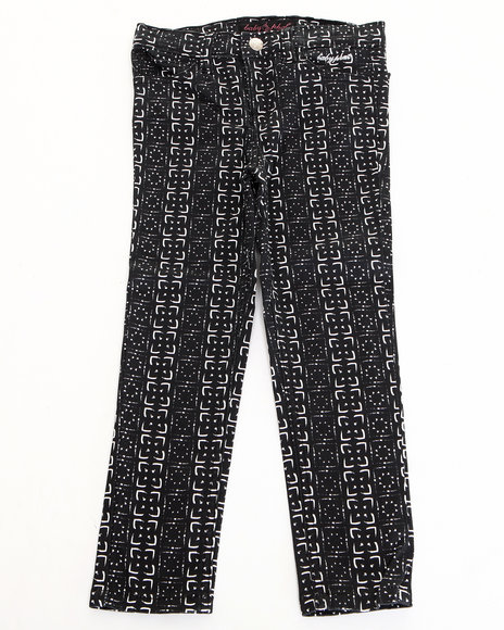Baby Phat Girls Black Printed Twill Jeans (4-6X)