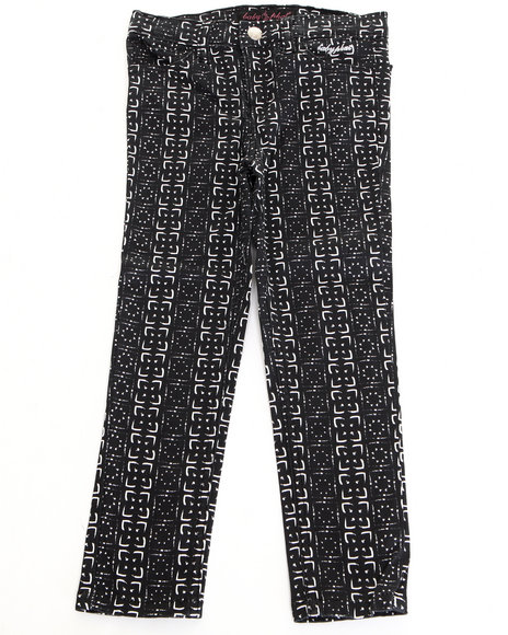 Baby Phat - Girls Black Printed Twill Jeans (2T-4T)