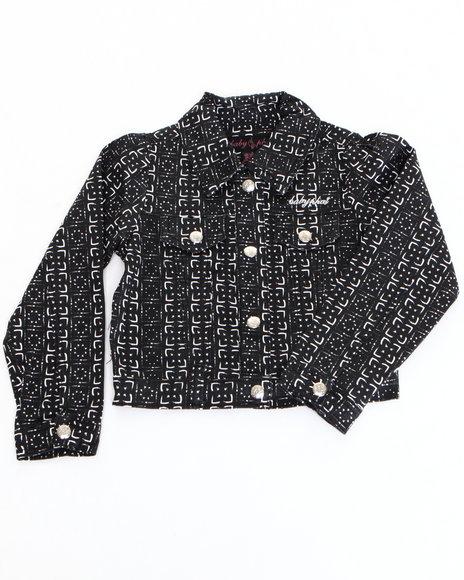 Baby Phat Girls Black Printed Twill Jacket (7-16)