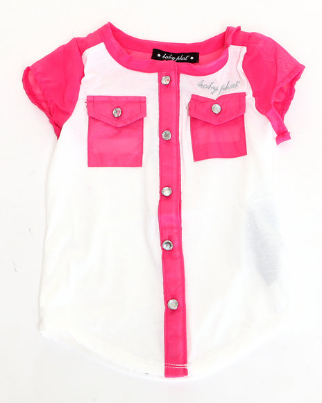 Baby Phat - Girls Pink Chiffon Trim Top (2T-4T)