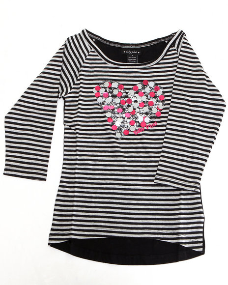 Baby Phat - Girls Black Striped Heart Top (7-16)