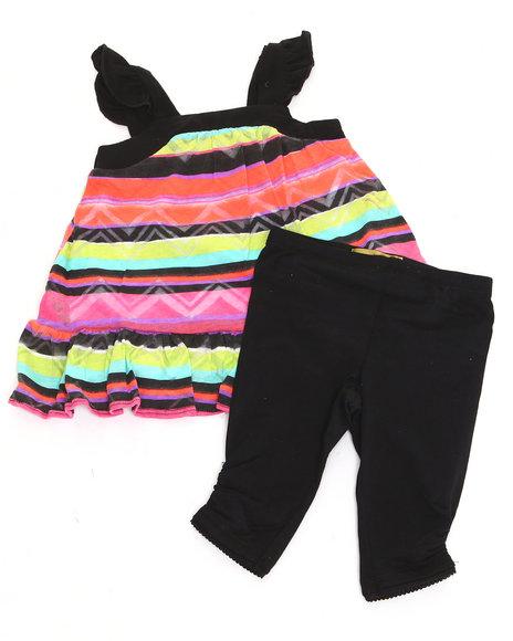 Nicole Miller Girls Black 2 Pc Set Printed Tunic & Leggings (Infant)