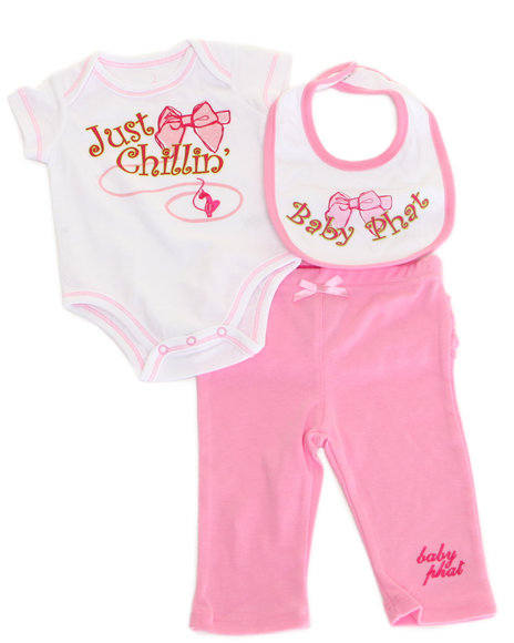 Baby Phat - Girls Pink Body Suit, Bib, & Pants (Newborn)