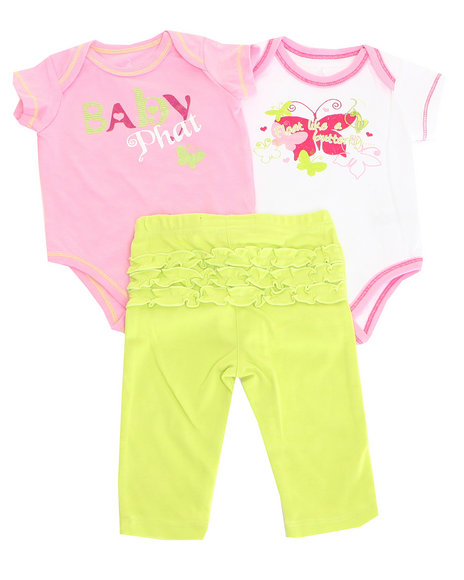 Baby Phat - Girls Lime Green 2 Pack Bodysuits & Pants (Newborn)