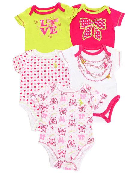 Baby Phat - Girls Pink 5 Pack Bodysuits (Newborn)