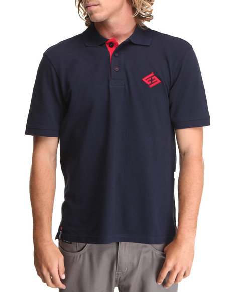Enyce - Men Navy Factor S/S Solid Polo W/ Collar Logo