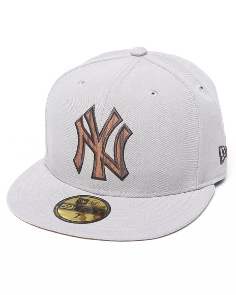 New Era - Men Grey New York Yankees Nature Fill 5950 Fitted Hat