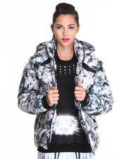 Women - Down Crystal / Feather Print Parka