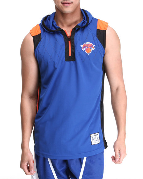 Nba, Mlb, Nfl Gear - Men Blue New York Knicks Fence Cutt-Off Shirt