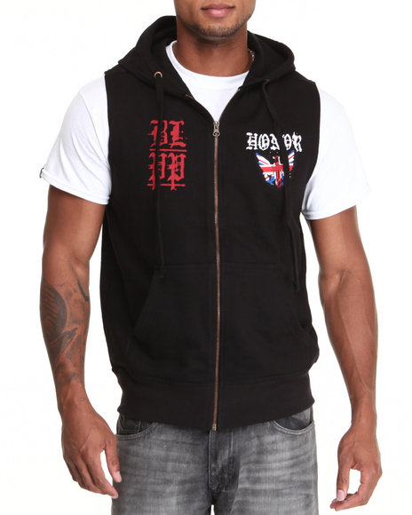 Blac Label Men Black B L P P Sleeveless Hoodie