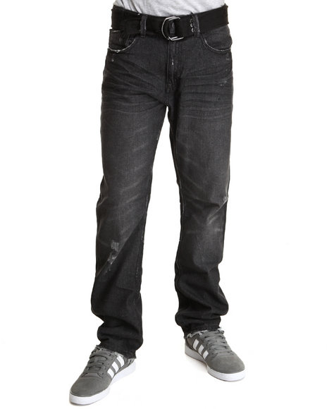 Buyers Picks - Men Black Horatio Belted Denim Jeans