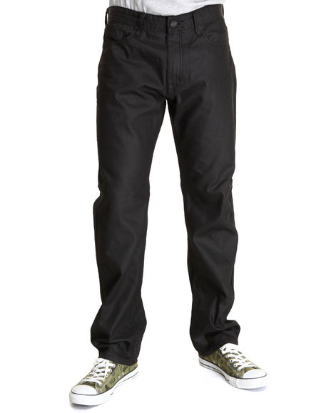 Basic Essentials Black Maat Coated Denim Jeans