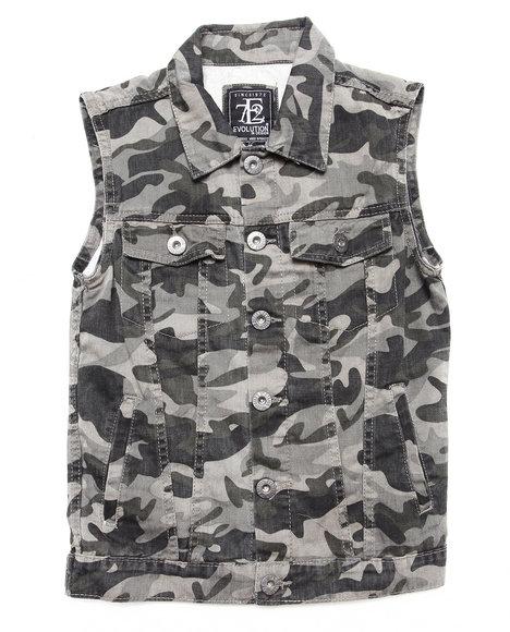 Arcade Styles Boys Black,Camo Camo Vest (8-20)