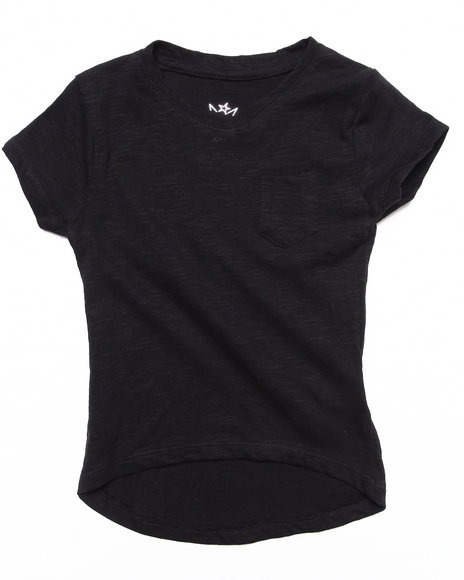 La Galleria Girls Black Slub V-Neck Tee (4-6X)