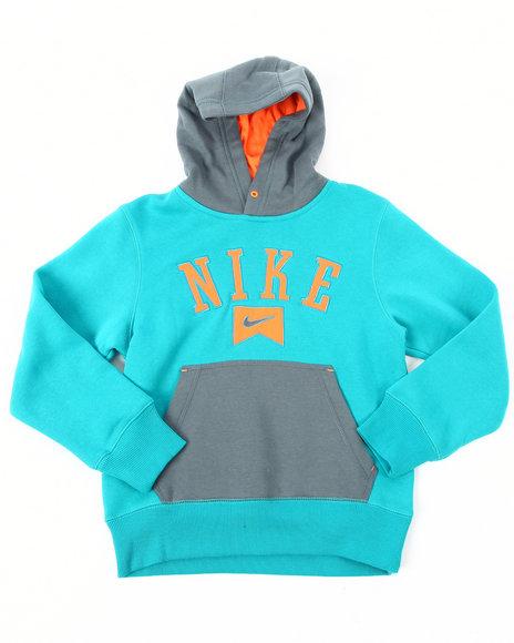 Nike Boys Grey Color Blocked Fleece Pullover Hoodie (8-20)