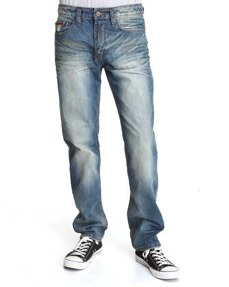 - Men Vintage Wash,Dark Wash Respect Slim Fit Denim Jeans