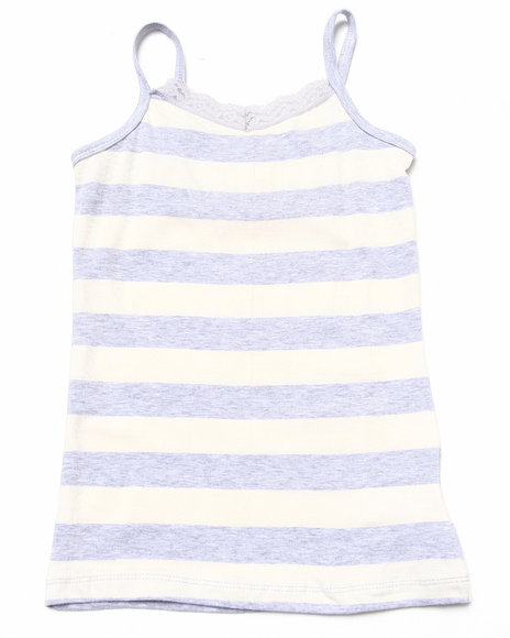 La Galleria - Girls White Striped Cami W/ Lace Trim (7-16)
