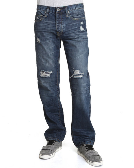 - Medium Wash Bravery Straight Fit Denim Jeans
