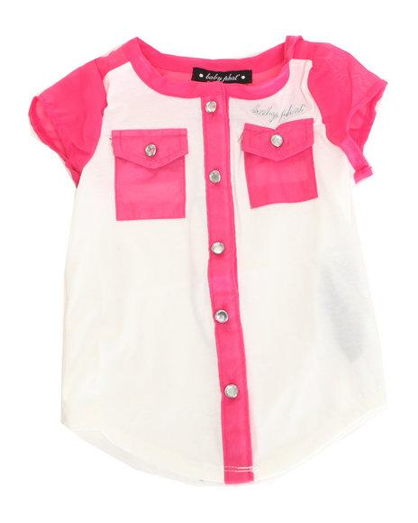 Baby Phat - Girls Pink Chiffon Trim Top (7-16)