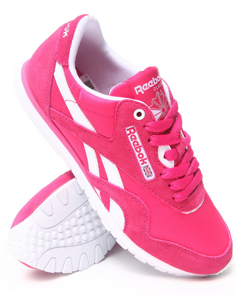Reebok Pink Cl Nylon Slim Sneakers